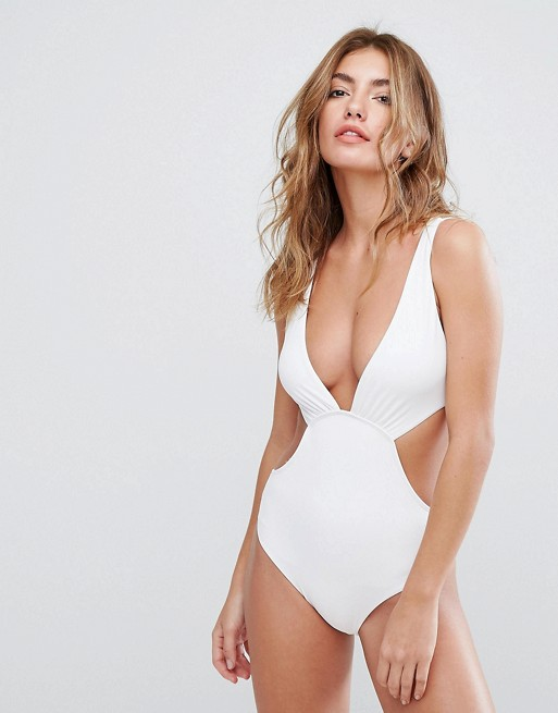 Woman in sexy solid white bikini from ASOS