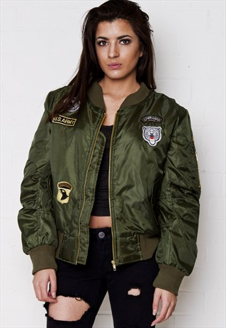 South Beach Padded bomber jacket with badge