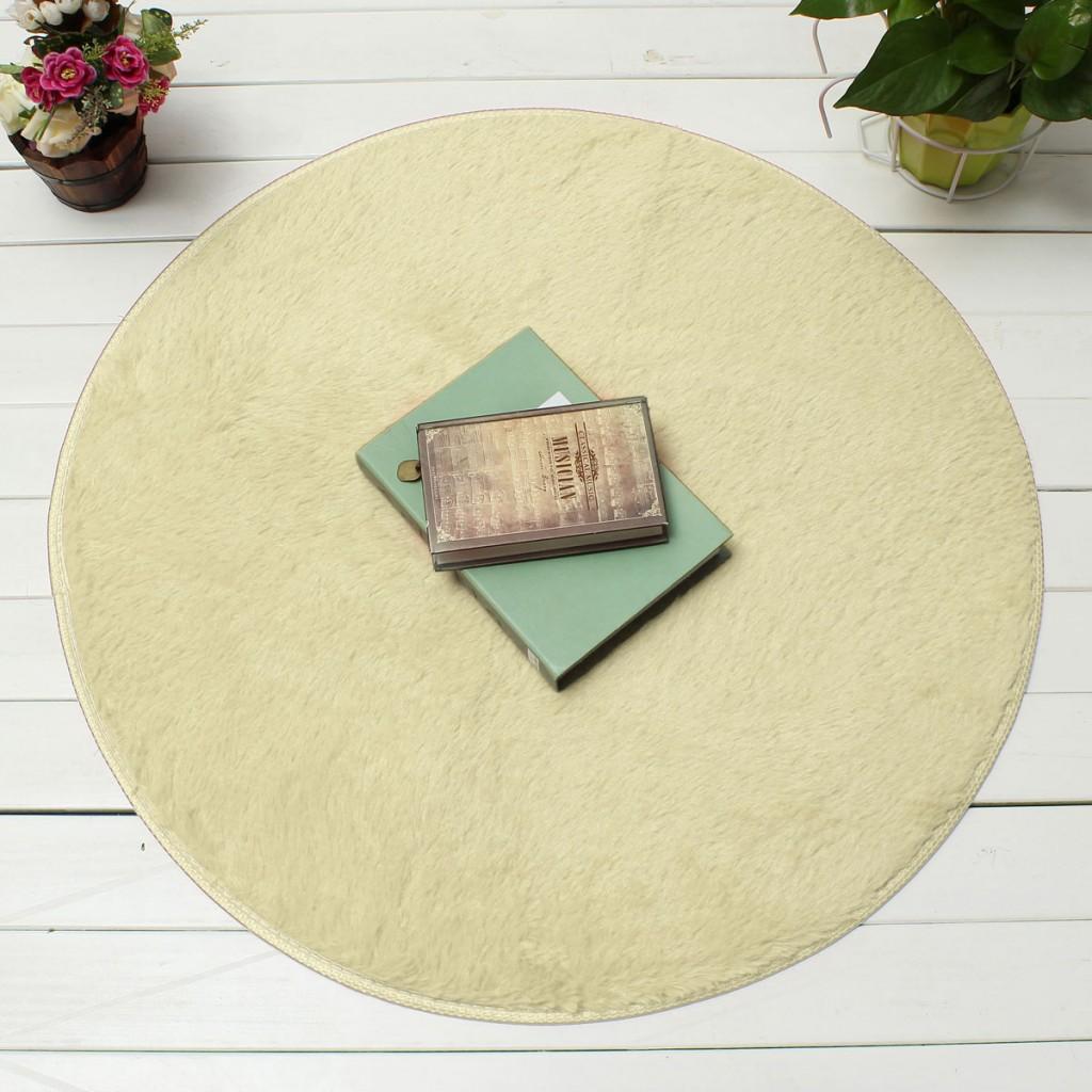 Fluffy Round Foam Shaggy Rug Anti Slip Bedroom Mat Floor Carpet Soft Plush 82cm Off-white