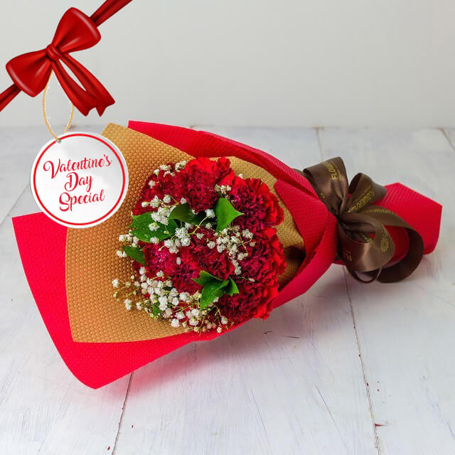 Vday - Deep Love A bouquet of 10 Red Carnations and fillers