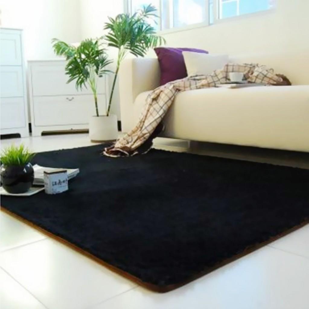 Fluffy Anti-skid Shaggy Area Rug Yoga Carpet Home Bedroom Floor Dining Room Mat Black