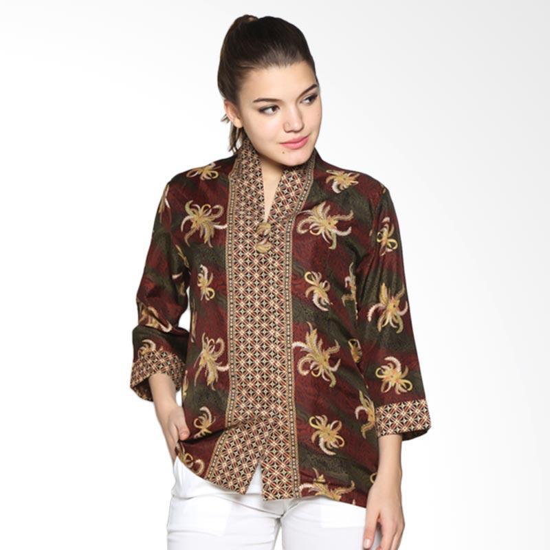 Adikusuma Women 402285106 Blouse Batik Kembang Ceplok Atasan Wanita