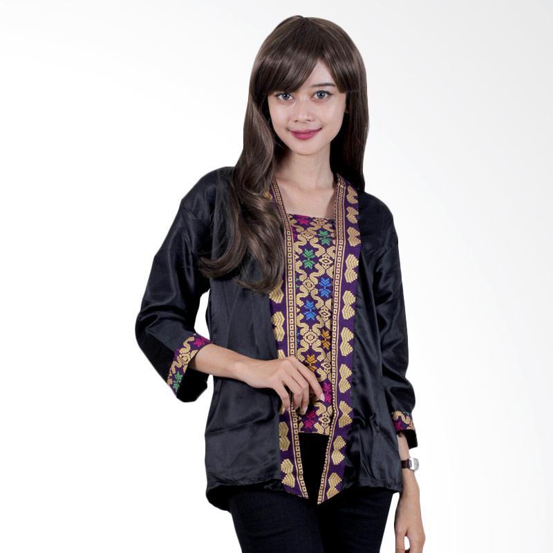 Batik Putri Ayu Solo B32 Blouse Batik Semi Sutra Prada - Hitam