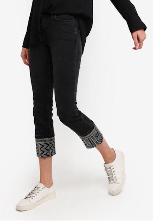 Mango - Embroidered Skinny Lurex Jeans