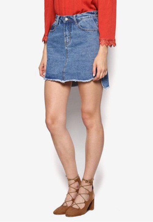 Something Borrowed - Raw Edge Step Hem Denim Skirt