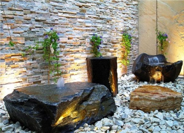 desain air mancur dinding batu alam the smarter way