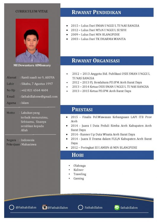 contoh cv fresh graduate 2