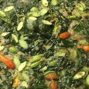 resep sayur daun singkong pete