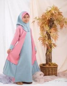 Gamis anak perempuan pink dan biru pastel