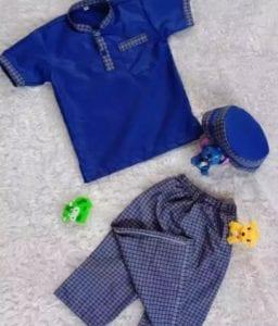 baju koko anak laki-laki warna biru