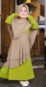 gamis anak perempuan warna hijau lemon