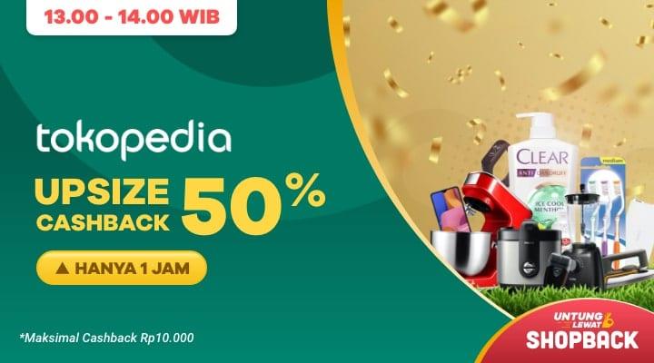 Cuma 1 Jam! Ada Cashback 50% Belanja di Tokopedia Lewat ShopBack