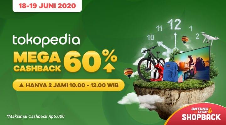 Promo Tokopedia Mega Cashback 60% Cuma di ShopBack, Ayo Serbu!