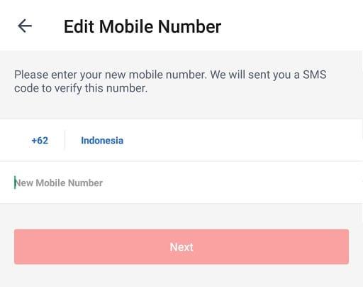 memperbarui nomor ponsel di aplikasi shopback