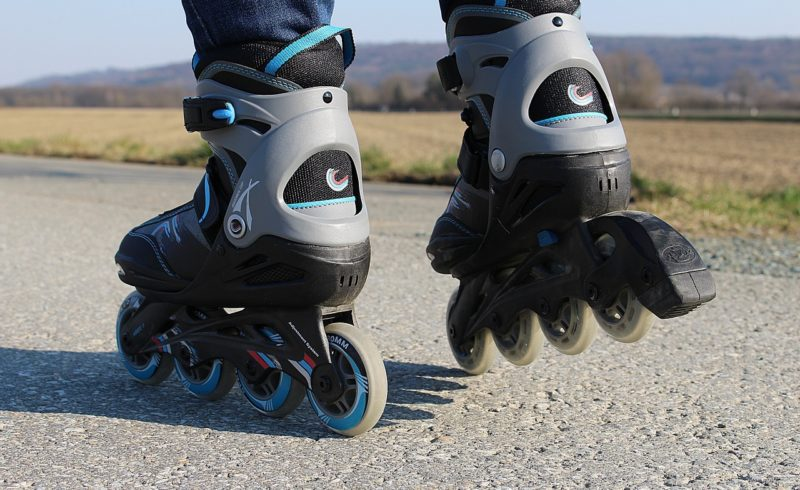Inline skating on an empty road