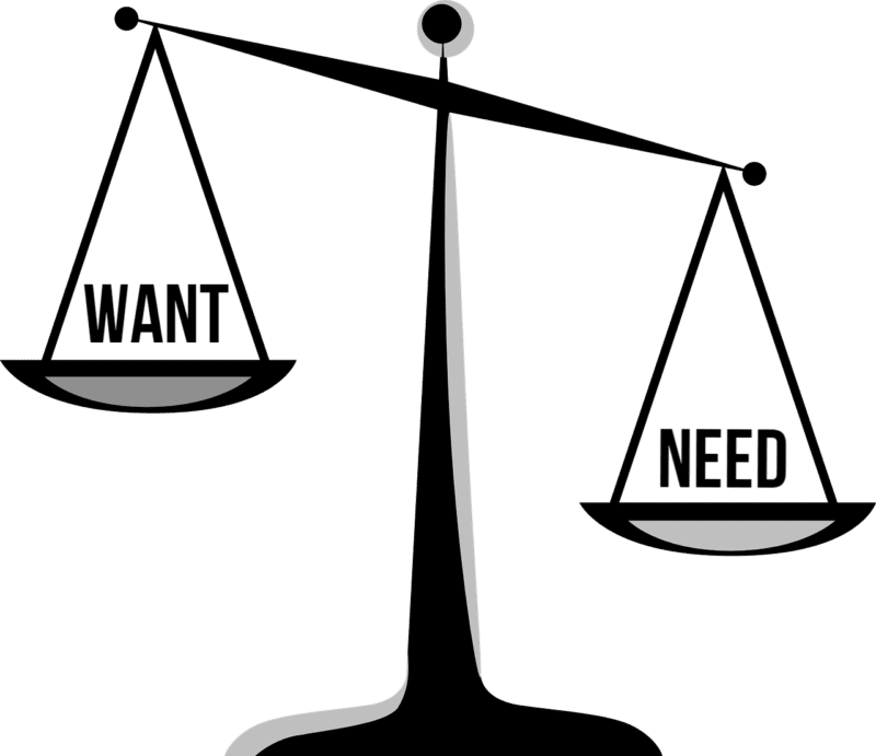 scale need vs want