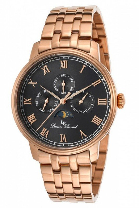 Lucien Piccard Mens Black Stainless Steel Watch LP-10527-RG-11