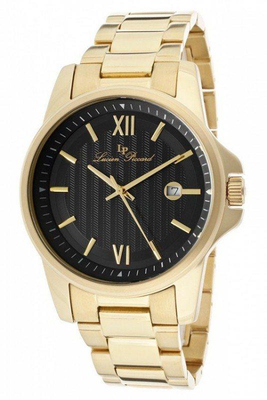 Lucien Piccard Mens Black Stainless Steel Watch LP-10048-YG-