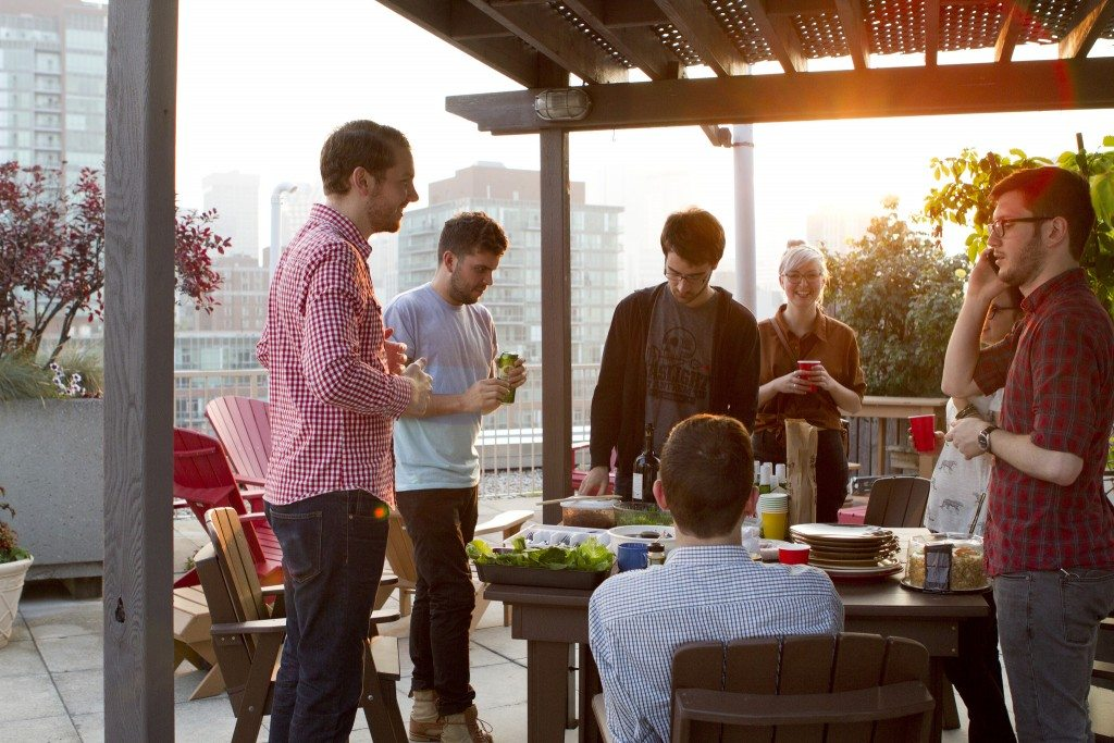 Rooftop family dinner and gathering