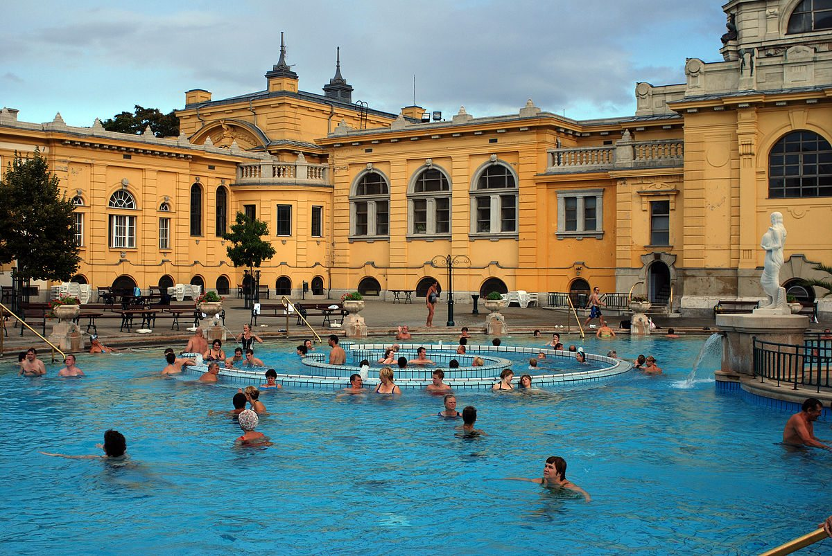 A thermal spa in Budapest, Hungary
