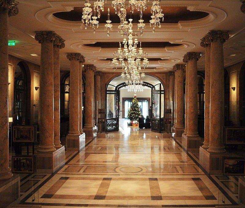 Lobby, Athénée Palace Hotel, Bucharest, Romania.