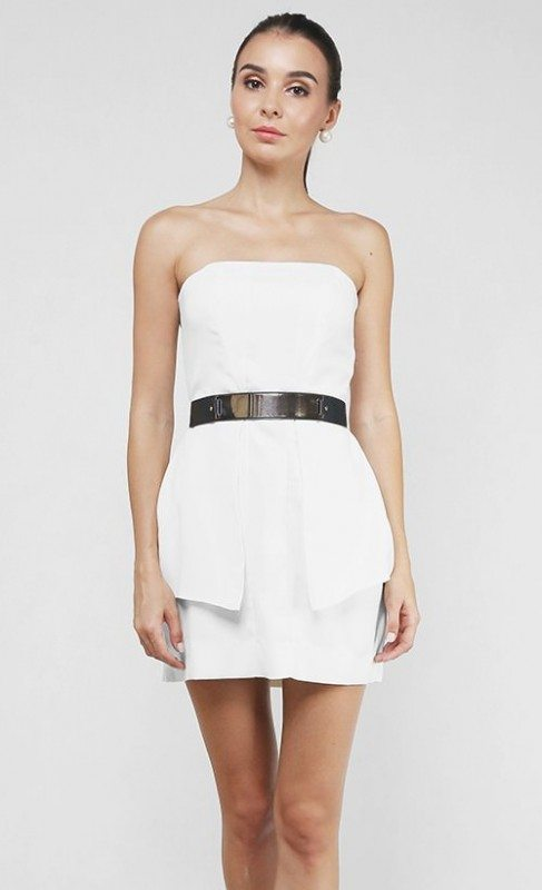 Bustier mini dress in classic white with gold metallic belt