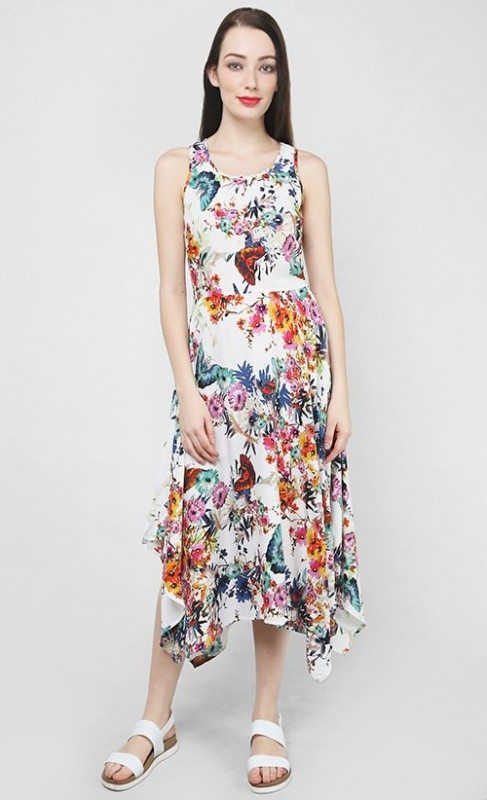 Floral Midi-length summer dress with handkerchief hem