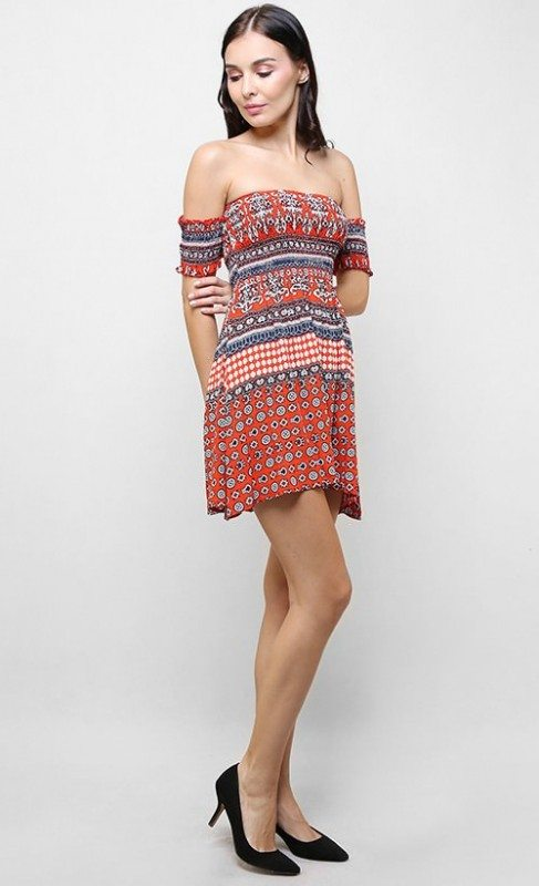 The off-shoulder mini dress in Bohemian print