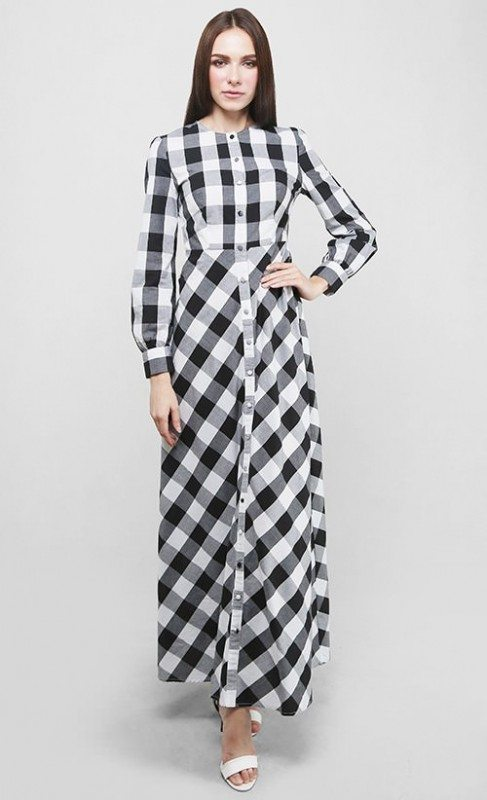 A floor-length, checkered maxi dress in black & white