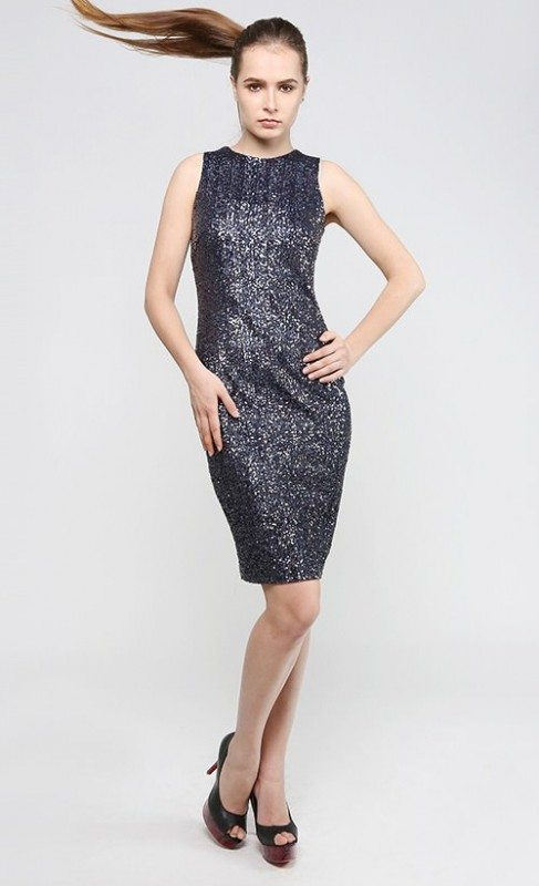 Sequin fitted dress in dark grey