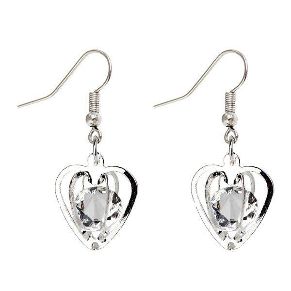 Rhinestone Heart Shaped Drop Earrings