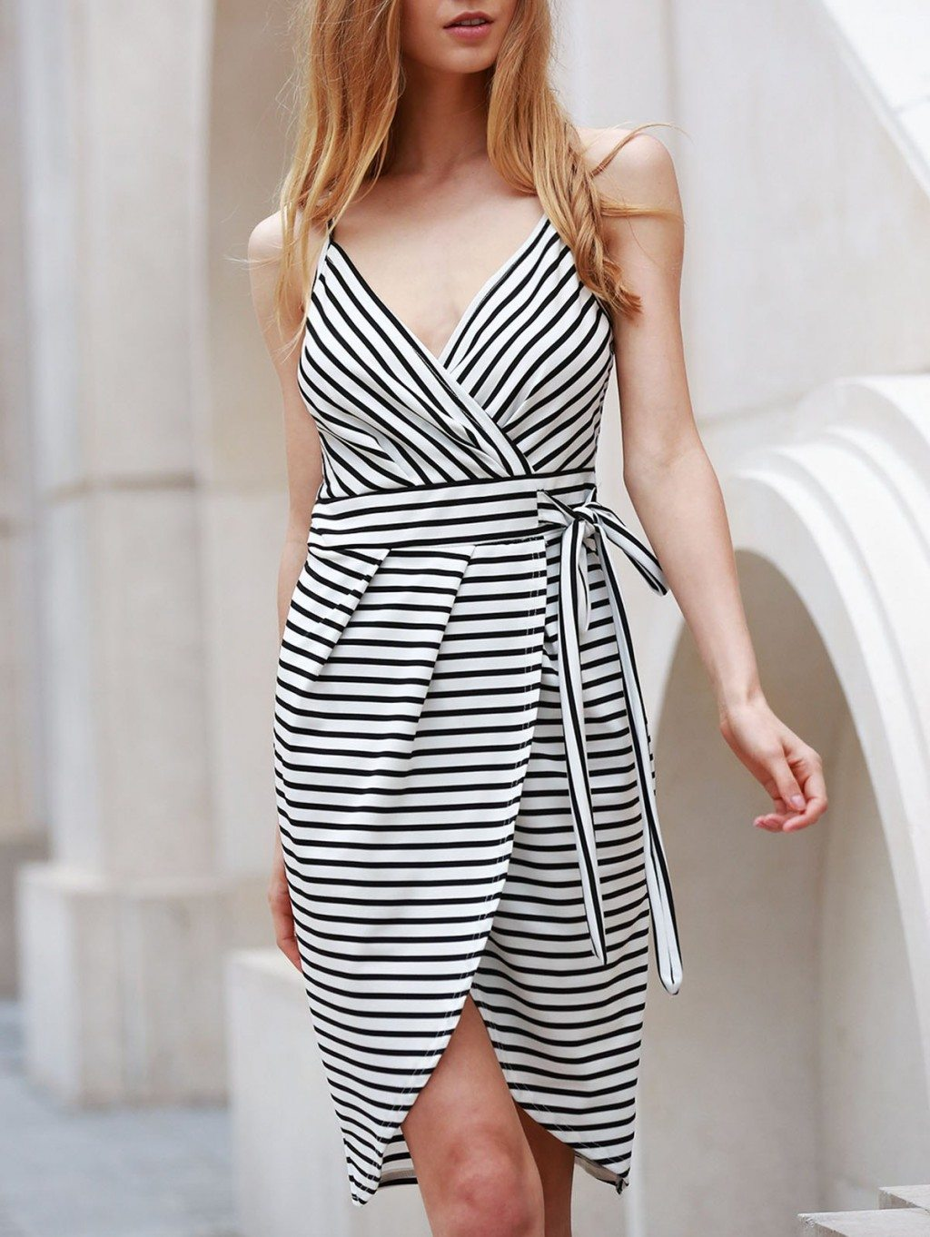 Sexy Sleeveless Spaghetti Strap Striped Dovetail Self-Tie Dress For Women