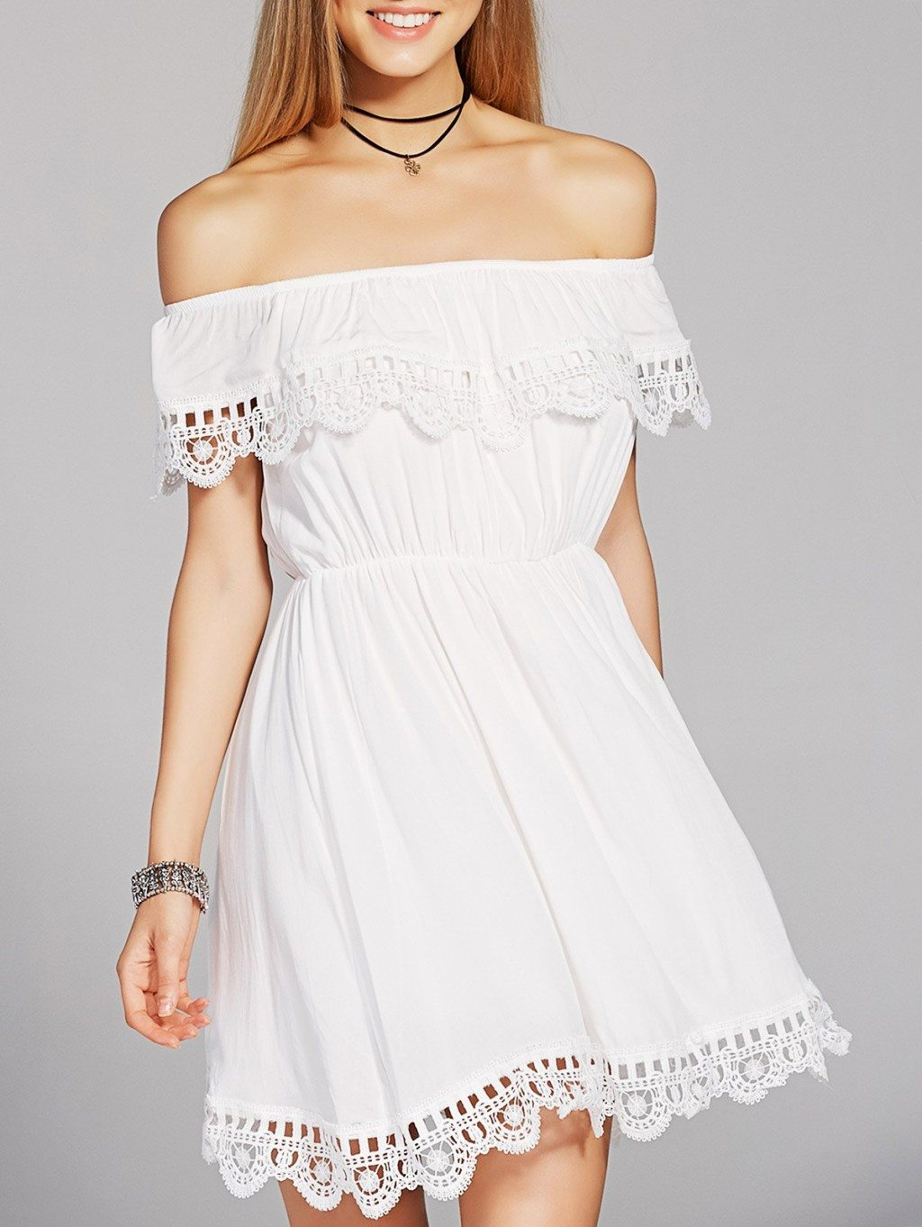 Stylish High Waisted Off The Shoulder Crochet A-Line Dress For Women
