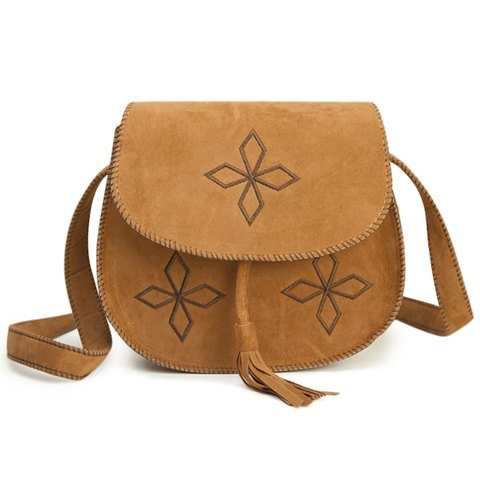 Vintage Women's Crossbody Bag With Tassels and Bordered Design