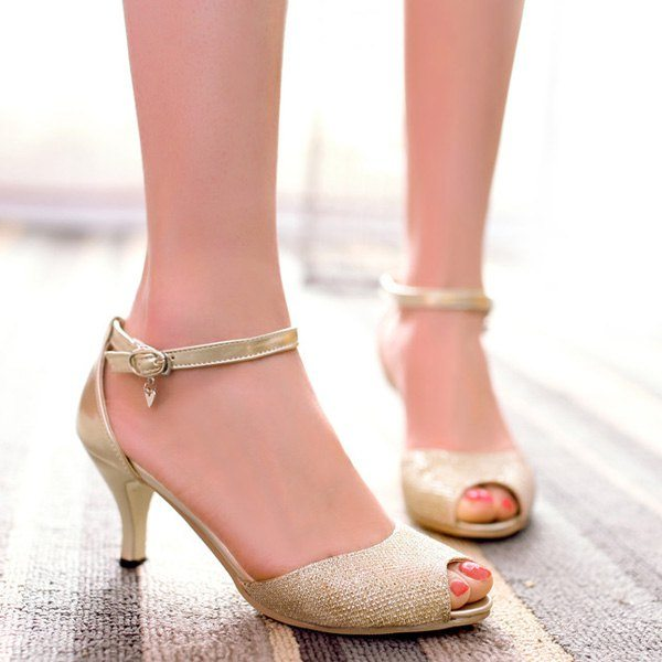 Graceful Women's Sandals With Kitten Heel and Ankle Strap Design