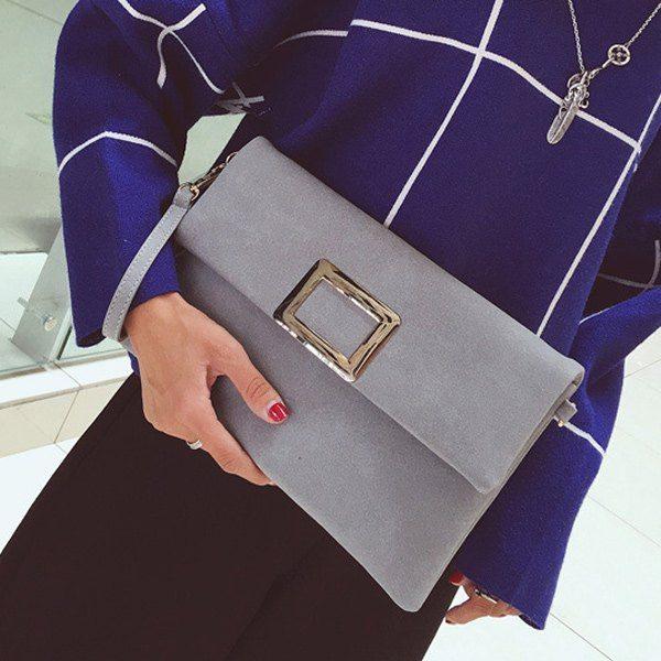Magnetic Closure PU Leather Metal Clutch Bag