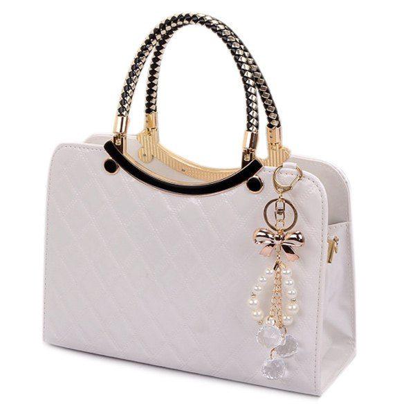 Patent Leather Checked Handbag