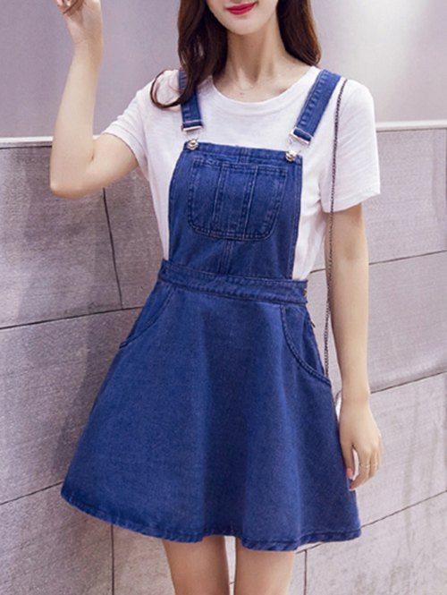 Pinafore Denim Mini Dress