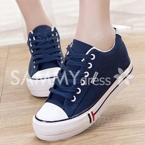Preppy Style Women's Canvas Shoes With Lace-Up and Round Toe Design