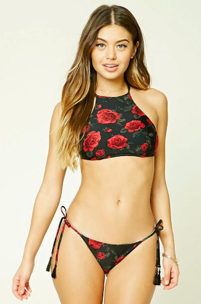 rose print bikini forever 21 swimwear