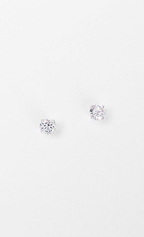 Dipped Row Round Crystal Stud Earrings