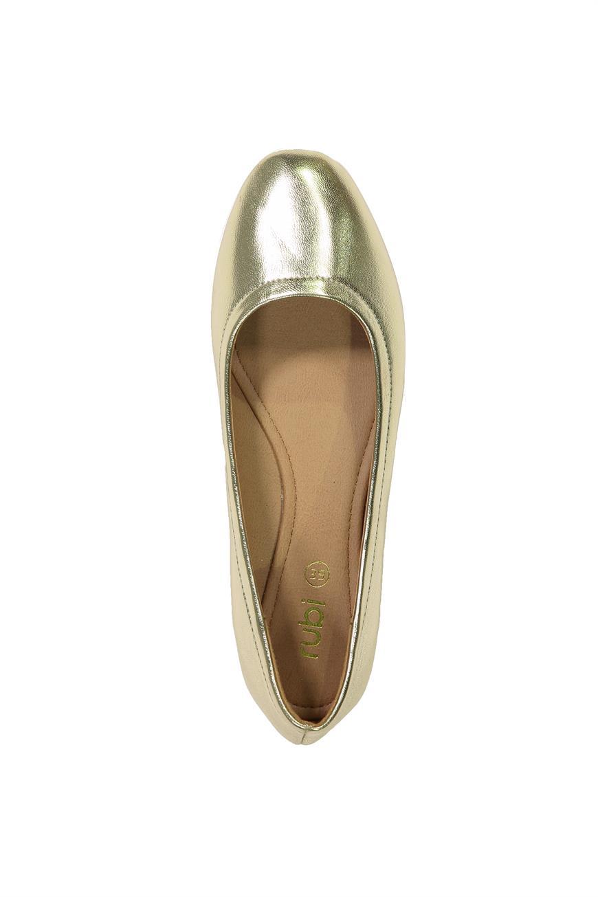 Samantha Square Ballet Flat in Gold PU