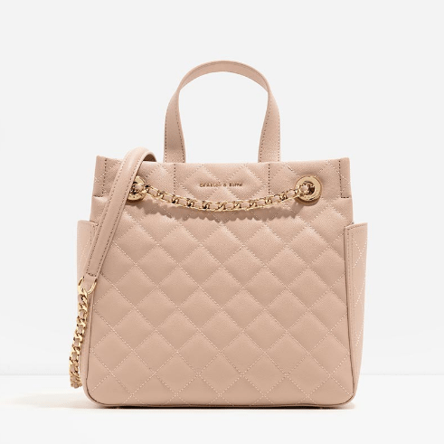 Charles Keith Quilted Top Handle Bag