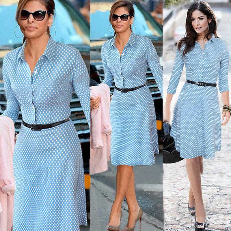 Polka Dots Long Sleeve Dress