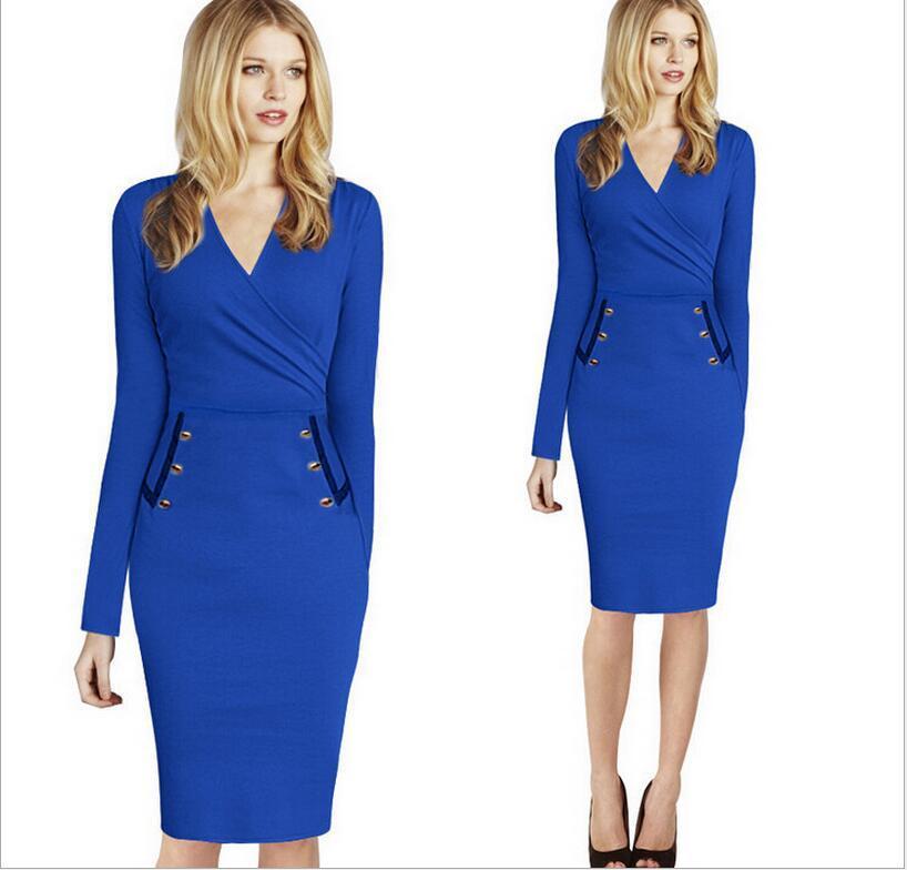 v-neck blue dress