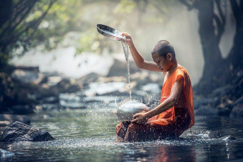 Monk in a stream