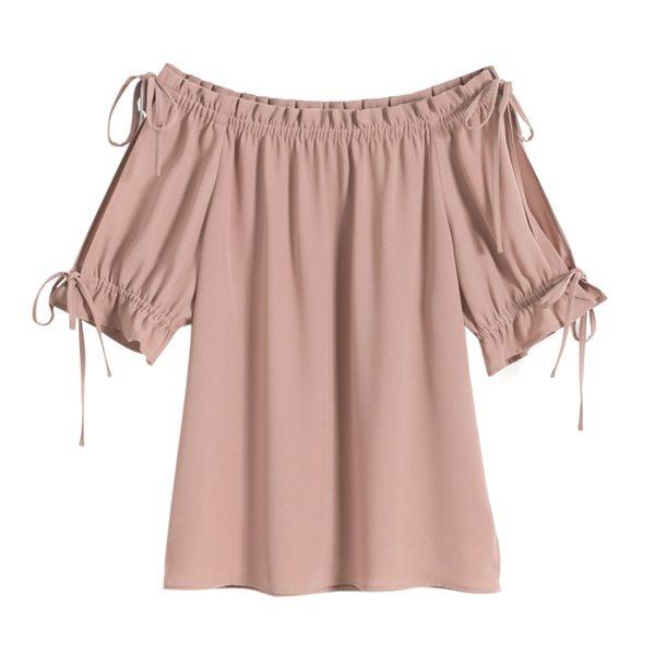 Pink Off-Shoulder Top Taobao