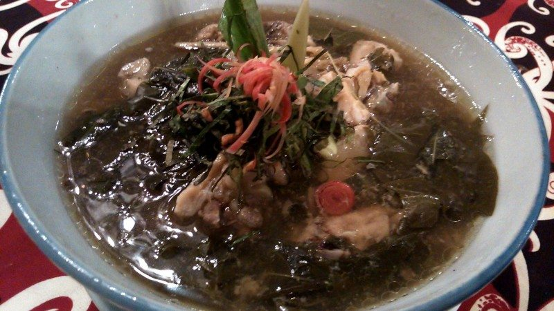 chicken and tapioca leaves soup