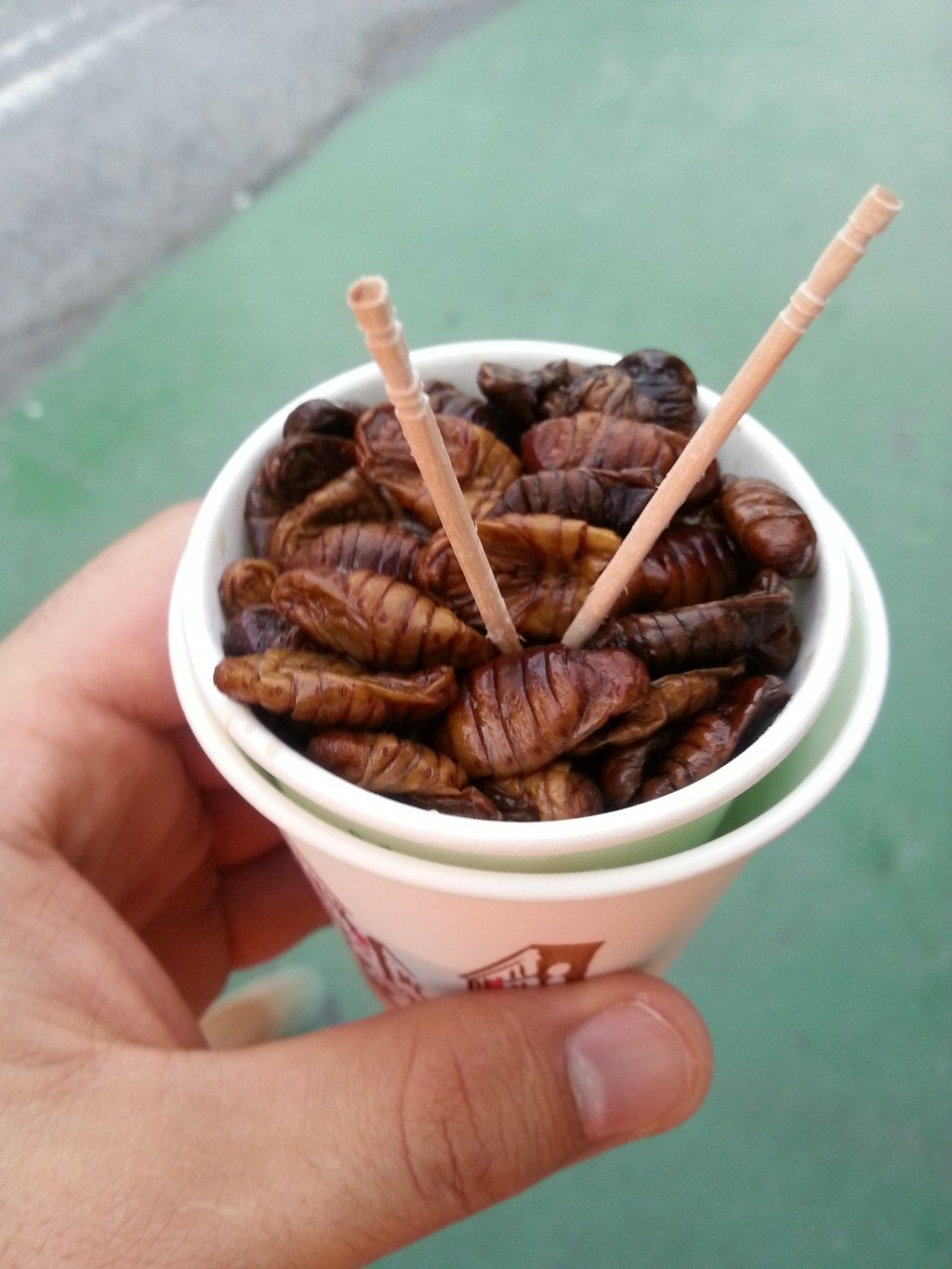 barbecued sago grubs