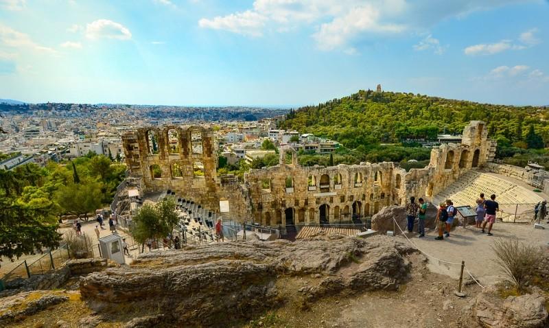 View of Acropolis theatre, Athens, Greece
